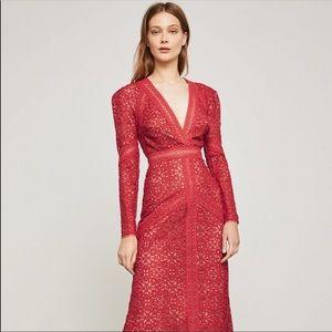 NEW BCBGMAXAZRIA Red Bcbg Mosaic Lace Maxi Dress